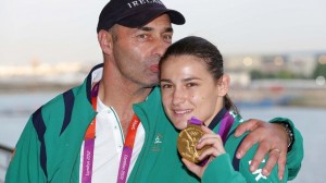 Katie Taylor with her father and coach Pete with Olympic Gold Medal
